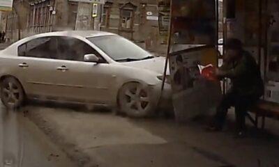 KAZ 0027 Car crash into the bus stop