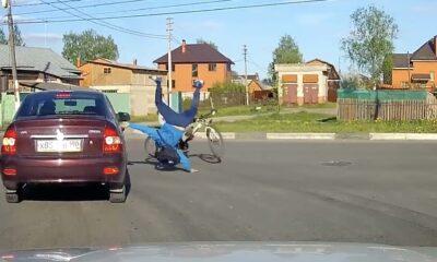 KAZ 0029 Hitting biker at junction