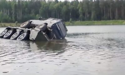 FAL 0050 Crossing lake with amphibious vehicle