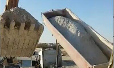 while loading crushed stone